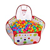 Kunmuzi Kids Ball Pit, Indoor & Outdoor Play Tent Playpen Ball Pit Pool with Basketball Hoop Zippered Storage Bag (Balls not Included) (Red pit)