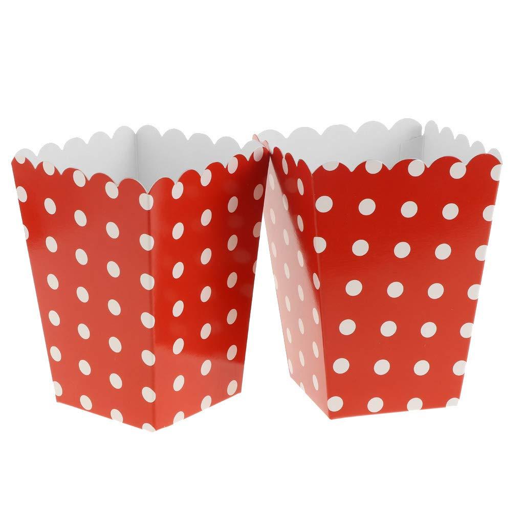 12Pcs Polka Dots Popcorn Boxes for Family Movie Night Birthday Party Favors