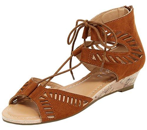 Esprit Womens Carol Caged Geometric Cutout Ghillie Open Toe Cork Wedge Sandal Cognac wy9ayMn0A
