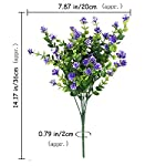 """Besttoyhome 4 Bushes Faux Flower Artificial Star Flower Bush in Purple with Accent Greenery- 14"""" Tall -7 Stems per Bush-UV-Resistant Indoor/Outdoor"""
