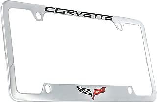 product image for Chevrolet Corvette C6 License Plate Frame Holder (4 Hole / Brass, Chrome / Bottom)