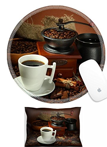 Luxlady Mouse Wrist Rest and Round Mousepad Set, 2pct IMAGE: 21231965 cup of coffee grinder turk and coffee beans on brown background