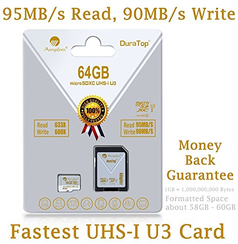 64GB Micro SDXC SD U3 Card Plus Adapter Pack. Amplim Pro Class 10 UHS-I Extreme MicroSDXC 95MB/s Read, 90MB/s Write Ultra High Speed HD UHD 4K Video. Internal/External MicroSD Storage Flash TF Memory (Profile Elite Back Hub compare prices)