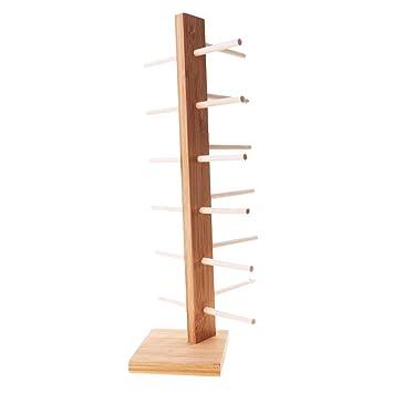perfk 1-Row Brillenständer, Holz Brillenregal für Brillen Organizer Sonnenbrillenablage - 6-Schicht