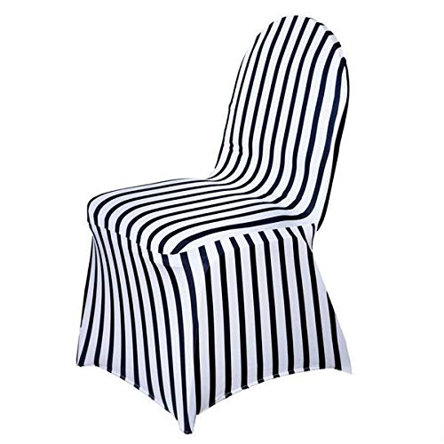 BalsaCircle 25 pcs Black and White Stripes Spandex Stretchable Banquet Chair Covers Slipcovers for Wedding Reception Decorations