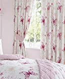 Butterflies Magic Pink Ready Made Fully Lined 66' x 54' Pencil Pleated Curtains