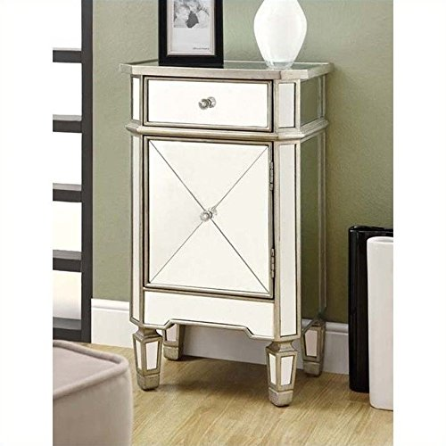 Monarch Specialties 1-Drawer Accent Cabi - Mirrored Bedside Table Shopping Results