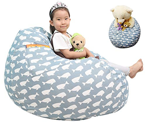 Great Eagle 44 x 36 Inches Extra Large 100% Cotton Canvas Kids Stuffed Animals Toys Stroage Bean Bag Chair Cover Only, Stuffed Animals Organizer for Kids(Blue/Whales)