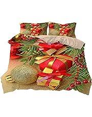 FCOMES Christmas Joy Santa Claus Bedding 3 Piece Christmas Theme New Year Holiday Set Comforter Cover