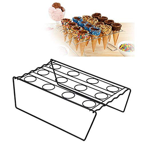 Cupcake Cone Baking Rack,12 Cavity Ice Cream Cone Holder Display Stand,16-Cavity Ice Cream Cone Cupcakes Holder,Stainless Steel,Cake Decorating Pastry Tray