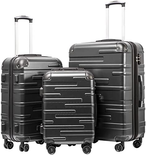 Coolife Luggage Expandable only 28 Suitcase 3 Piece Set with TSA Lock Spinner 20in24in28in reg grey