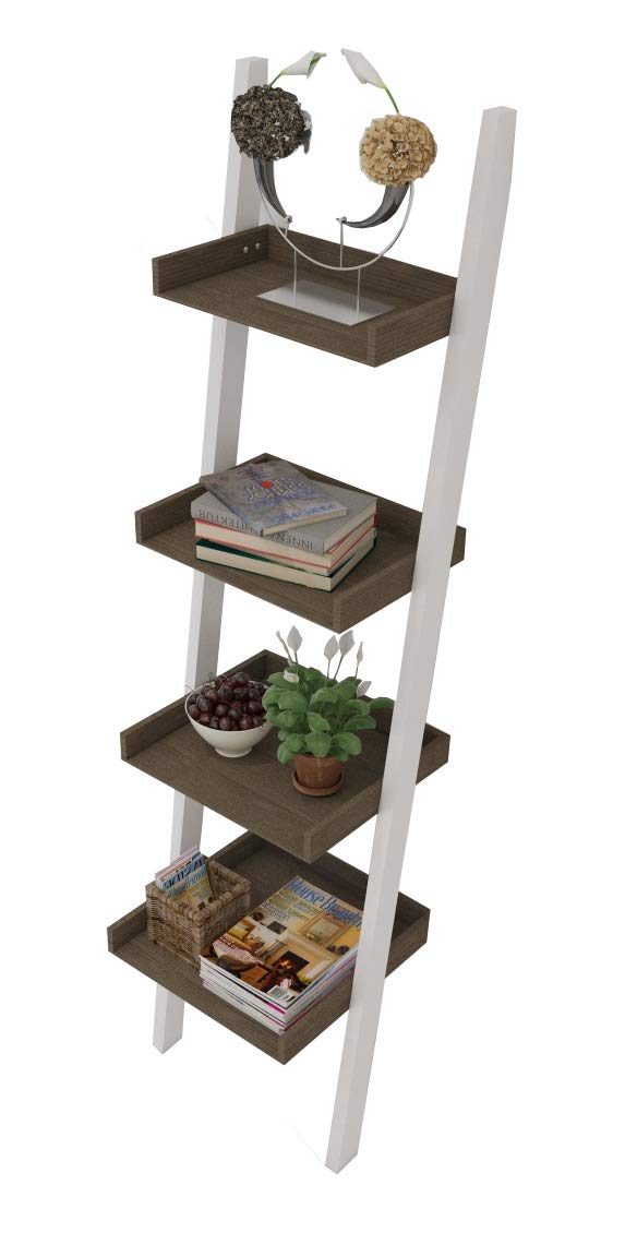 "4 Tier Bookcase white Ladder Shelf Unit Display Shelves Storage Shelving Leaning Ladder Bookshelf in White Body & Natural Color. Sturdy, Modern & Multi Use for any Rooms Indoor by Amayo Home - MODERN, FUNCTIONAL, STABLE - This beautiful ladder bookshelf will instantly add a modern aesthetic to any space in your home. Featuring a wide base, this shelf is not only functional, but incredibly stable. QUALITY MATERIALS - Made from solid wood, this shelf is scratch resistant, stain resistant and built to last. Holds up to 11lbs on each tier. 4 STURDY SHELVES - 4 large, tiered shelves are the perfect place for books, plants, home decor, clothes or toys. Each shelf holds up to 11lbs & has a depth from 8.5"" to 14.4"". - living-room-furniture, living-room, bookcases-bookshelves - 51 cRLRRP%2BL -"