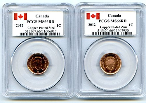 2012 Royal Canadian Mint Canada TWO COIN COPPER PLATED STEEL AND ZINC SET Last Year Of Issue PCGS MS66 ()