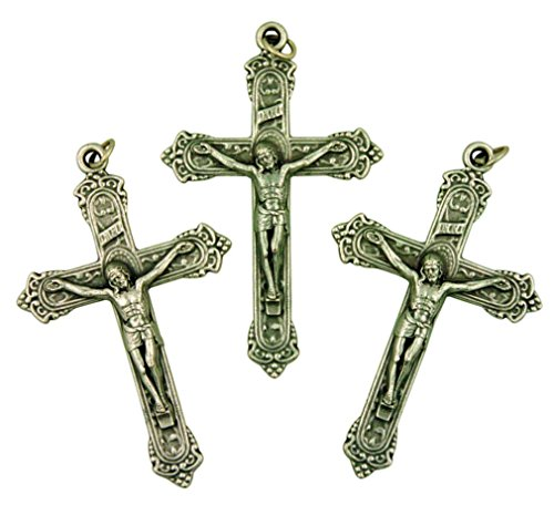 Lot of 3 Silver Tone Fleur De Lis Cross 2 Inch Fancy Crucifix Pendant