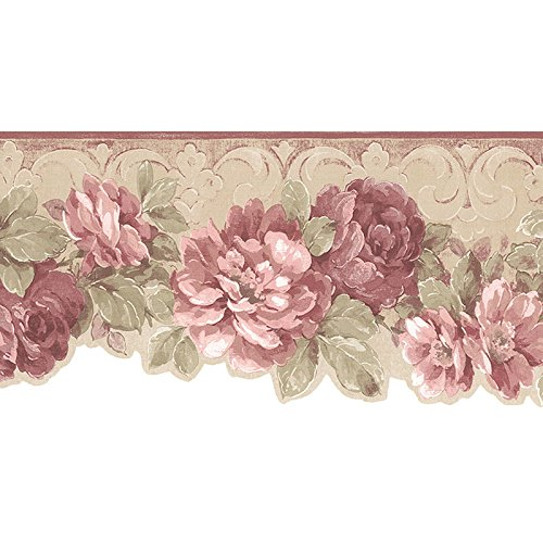 Wallpaper Border Die Cut Bottom Edge Victorian Dusty Pink Floral (Pink Floral Border)