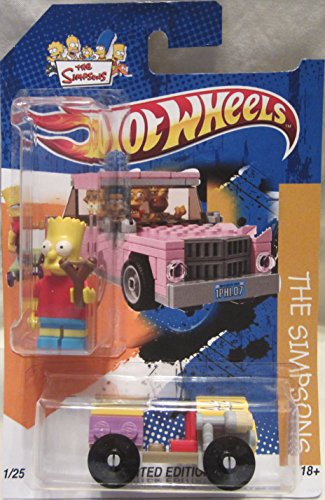 Hot Wheels CUSTOM The Simpsons Family Purple/Yellow Car with Screen Time Bart Simpson Figurine Limited Edition 1/25 Made !!