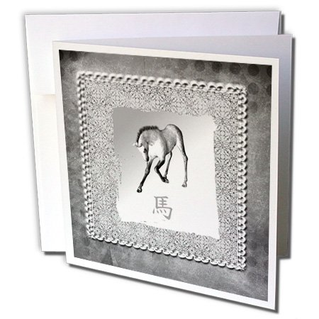 - 3dRose Bowing Horse, Chinese New Year, Silver Damask Design - Greeting Cards, 6 x 6 inches, set of 12 (gc_167400_2)