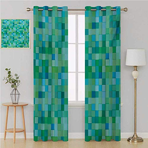 - Teal grummet Curtain Kitchen/Bedroom Window Treatments Home Decoration3D Cube Pattern Abstract Squares Vibrant Colored Geometric Shapes Design Moderncurtain panels 108 By 96 InchSea Green Blue