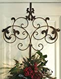 Wreath Hanger of Spencerian with Hooks, Iron Finish, Perfect for Door Decoration