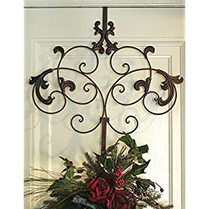 Wreath Hanger of Spencerian with Hooks, Iron Finish, Perfect for Door Decoration 100