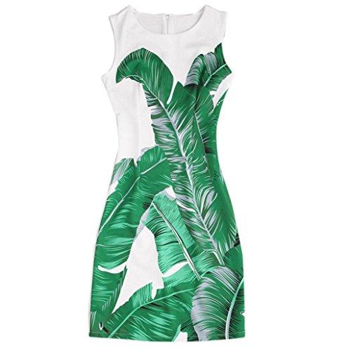 [Misaky Women's Floral Pattern Sleeveless Round Neck Short Dress (XL, Z_white)] (White Party Outfit Ideas)