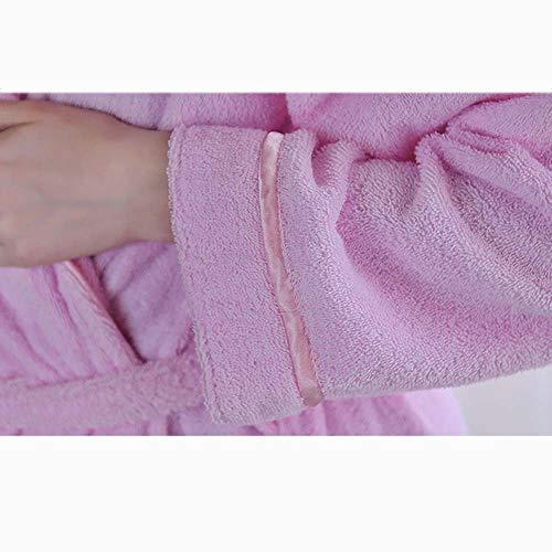color Otoño Albornoz Adulto Pink L Bata Invierno Tamaño Espesar Algodón Hotel Rosa Gjfeng Azul Pink xwvqE0dEf