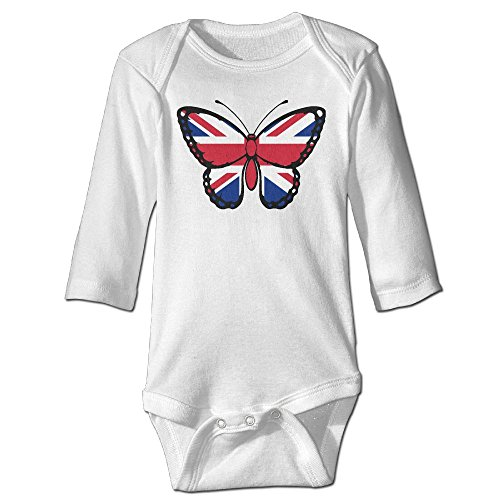 Q98BABY Infant Baby Boys Girls Long Sleeve Climb Jumpsuit British Flag Butterfly Print Jumpsuit ()
