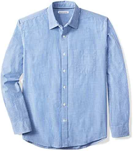 Amazon Essentials Men's Regular-Fit Long-Sleeve Gingham Shirt