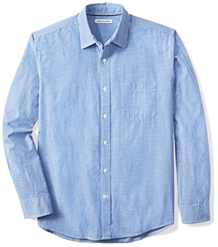 Amazon Essentials Men's Regular-Fit Long-Sleeve Gingham Shirt, Blue Mini-Gingham, (Blue Gingham Mini)