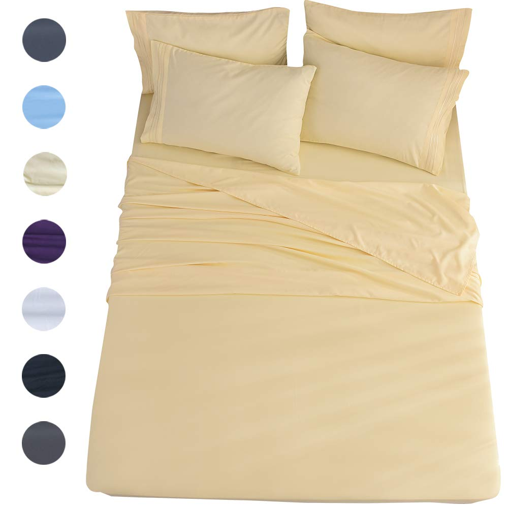Shilucheng California King 6-Piece Bed Sheets Set Microfiber 1800 Thread Count Percale | 16 Inch Deep Pockets | Super Soft and Comforterble | Wrinkle Fade and Hypoallergenic(California King, Yellow)
