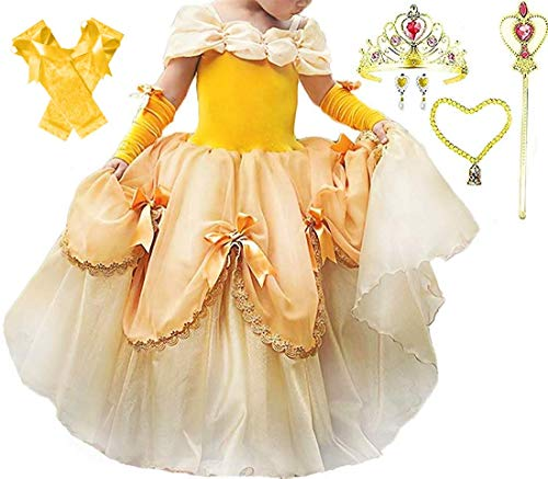 - Romy's Collection Princess Belle Yellow Party Deluxe Costume Dress-Up Set (Belle, 8-9)