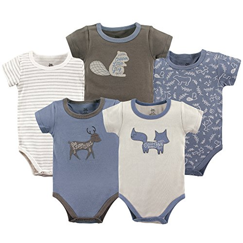 Yoga Sprout Cotton Bodysuit, 5 Pack, Forest, 6-9 Months ()