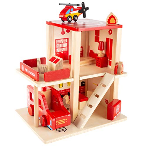 Hey! Play! Fire Station Playset- Wooden Firehouse, Truck, Helicopter & 16 More Fun Firefighting Accessories, 3-Level Pretend Play Dollhouse