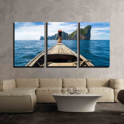 wall26 - 3 Piece Canvas Wall Art - Traditional Wooden Boat Approaching Picture Perfect Tropical KOH Phi Phi Island - Modern Home Decor Stretched and Framed Ready to Hang - 24