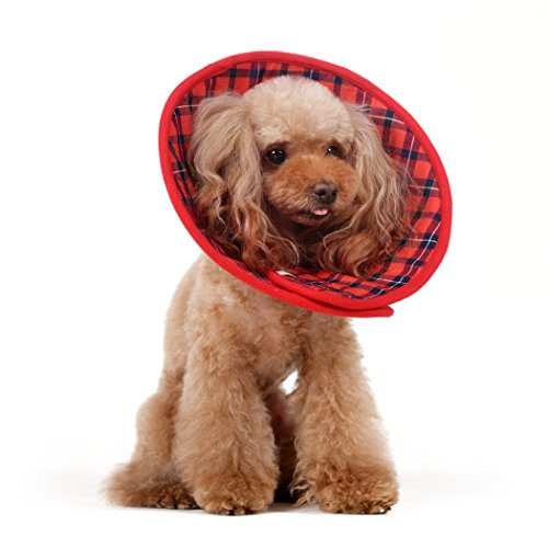 Alfie Pet Petoga Couture - Candace Soft Recovery Collar (Dogs Cats) - Color: RedPlaid, Size: XXL
