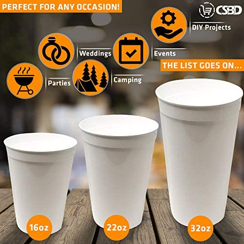 CSBD Stadium 16 oz. Plastic Cups, 10 Pack, Blank Reusable Drink Tumblers for Parties, Events, Marketing, Weddings, DIY Projects or BBQ Picnics, No BPA (Black) 5