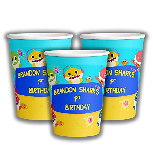 12 Personalized Shark Paper Cups | Baby Shark