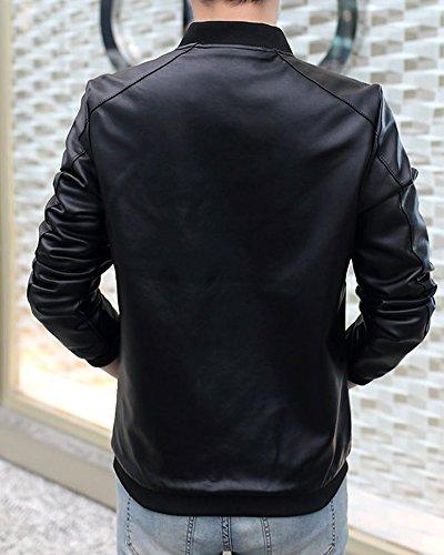 Libero Motociclista Nero Elegante Giacca Pelle Da Pu Molto Uomo Tempo Morbido ASx5qwFnq