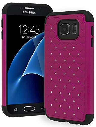 Galaxy S7 Case, Bastex Heavy Duty Slim Fit Hybrid Rubber Silicone Cover with Bling Rhinestone Premium Dual Shock Phone Case for Samsung Galaxy S7 (Hot ()