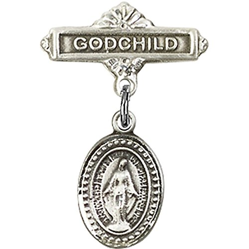 Baby Pin 0.625 (Sterling Silver Baby Badge with Miraculous Charm and Godchild Badge Pin 1 X 5/8 inches)