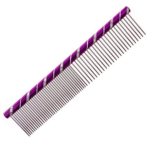 MEKBOK Dog Comb Grooms Cats As Well - for Medium to Thick Coats - 8 Inch Length - Rounded Spine - Grooming Tool for Mats and Shedding (Purple)