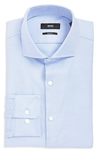 Hugo Boss Men's Mark Sharp Fit Dress Shirt(Light Blue, 17.5 x 34/35)