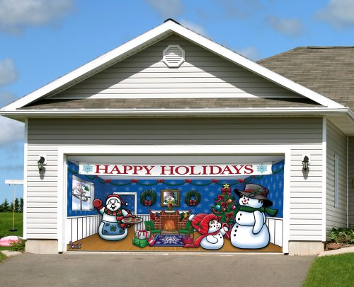 Victory Corps Outdoor Christmas Holiday Garage Door Banner Cover Mural Décoration 7'x16' - Snowman Family Outdoor Christmas Holiday Garage Door Banner Décor Sign 7'x16' ()
