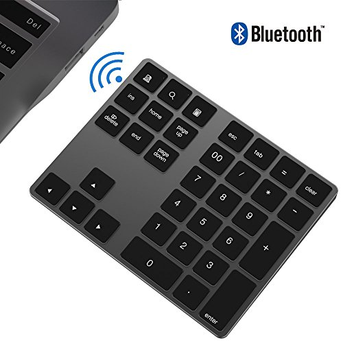 Bluetooth Numeric Keypad, IKOS Portable Wireless Bluetooth 34-key External Number pad with Multiple Shortcuts for Computer Laptop Windows Surface Pro Apple iMac Mackbook iPad Android Tablet Smartphone by ikos