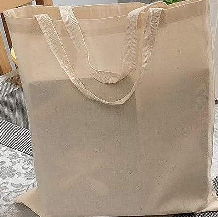 IMFAA - Bolsa de la compra reutilizable de lona de algodón 100% natural Color natural ideal para impresión y bordado. Peso de la tela: 5.5 oz (3, pequeño (30 x 30 + 30)): Amazon.es: Hogar
