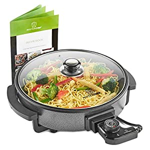 MisterChef® Multi-Function Cooker – Electric Frying Pan Cooker with Tempered Glass – 30cm – Energy Saver 1500W – Cool-Touch Handles – Free Colored Recipe Book Enclosed – 2 Year Warranty