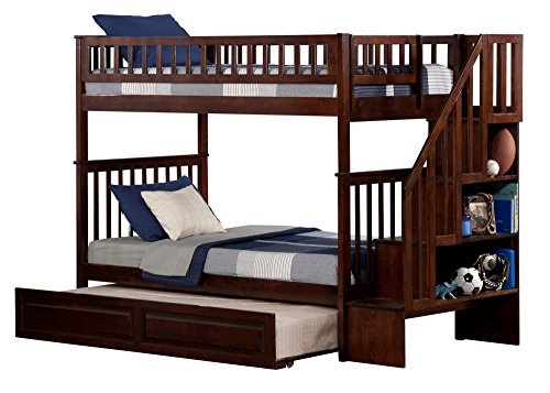 Atlantic Furniture Woodland Bunk Bed with Raised Panel Trundle Bed 6/Walnut