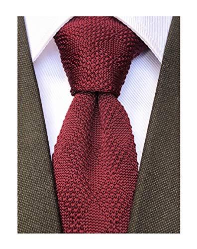 Knit Skinny Tie Knitted Slim Tie for Men Boys Wine Red Burgundy Tie Trendy Suit Winter Plaid Patterned Necktie