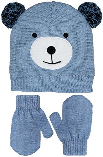 Little Girls Teddy Bear Pom Ears Knit Beanie & Mittens Set in Light Blue or Gray (Light Blue)