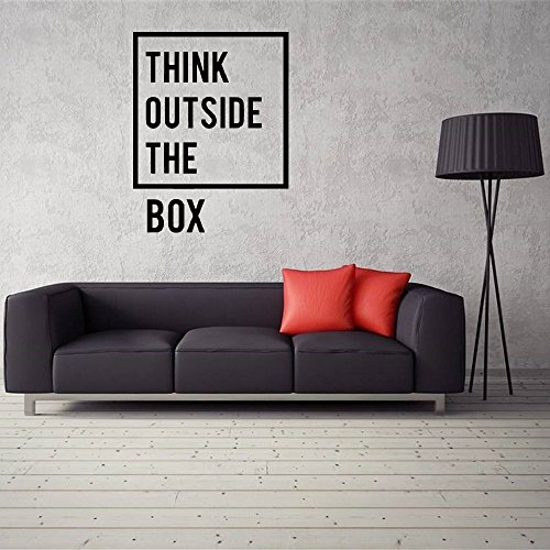 Edvoynlm Letters Wall Decor Stickers Quote Think Outside The Box Wall Sticker Removable Inspirational Quotes Office Wall Decal Ation for Living Room Bedroom (16x24 inch)
